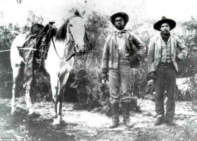 Pictured are two more black cowboys with a horse, although unlike the legendary Jesse Stahl, their identities are unknown. Following the Civil War, America turned its attention to settling lands in the Great Plains and many of the first settlers were freed slaves or children of former slaves who became the first black cowboys of the American Frontier