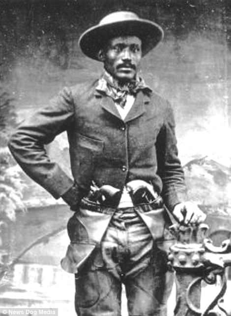 Ned Huddleston an African-American cowboy and former slave, pictured circa 1880s. Ned was at various points a legitimate stunt rider and a horse and cattle rustler