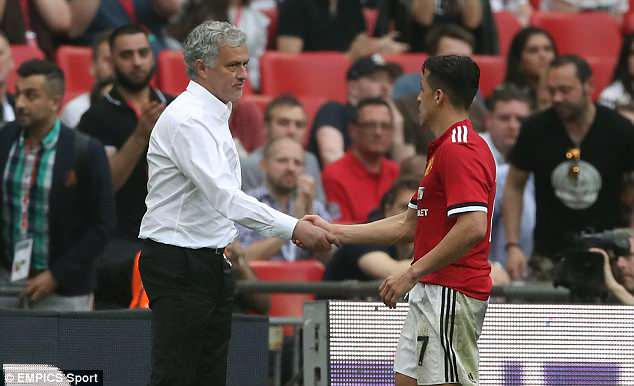 Alexis Sanchez scored Manchester United's first and Mourinho was please with his big players