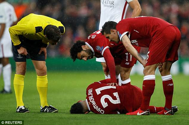 Alex Oxlade-Chamberlain went down injured during Liverpool's Champions League semi-final