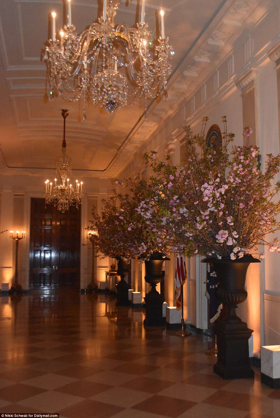 The giant vases of cherry blossoms are seen Monday night in the Cross Hall as reporters were briefly allowed into the White House to see the set-up for Tuesday night's state dinner with France