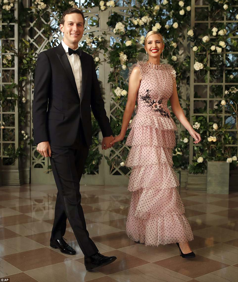 First daughter Ivanka Trump and husband Jared Kushner arrived at the White House state dinner on Tuesday night honoring French President Emmanuel Macron. Ivanka wore a $13,686 pink tulle Rodarte gown for the occasion