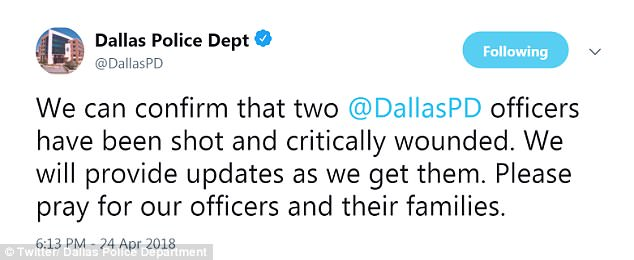 Dallas Police Department tweeted to confirm two officers and a civilian were injured. NBC DFW later quoted 'multiple sources' saying one of the officers had died