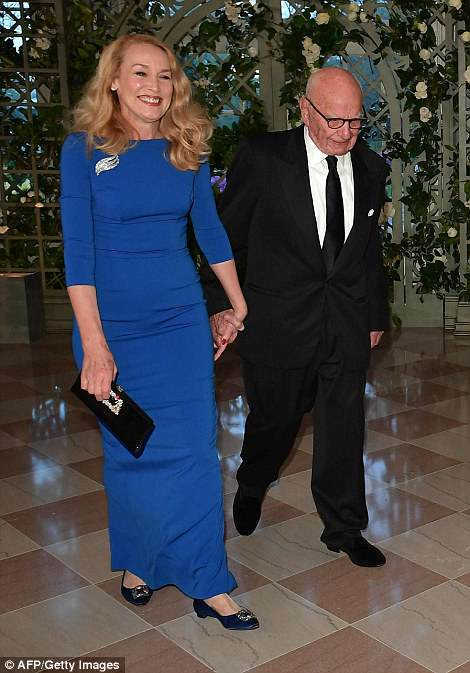 Reporters were left off the invite list but one media mogul made the list: the owner of Fox News Channel Rupert Murdoch. He is pictured above entering the White House with wife Jerry Hall