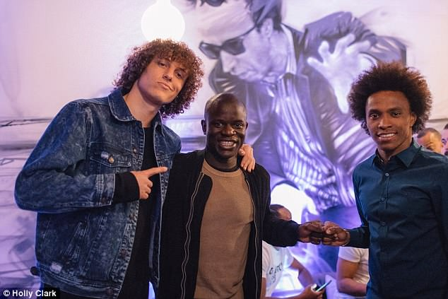N'Golo Kante was another of the Blues stars in attendance at Tuesday night's grand opening