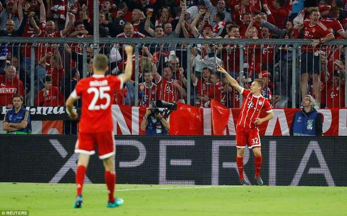 After a tight opening 27 minutes, Bayern Munich full back Joshua Kimmich burst forwards to slam past Keylor Navas