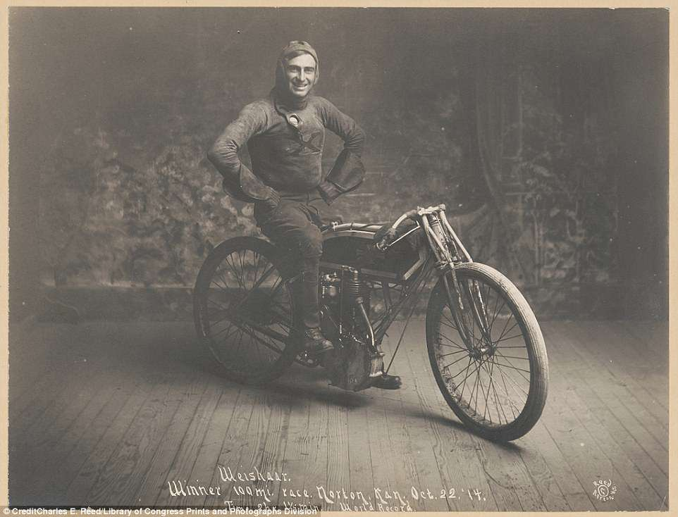 Ray Weishaar poses after winning a 100-mile race in Norton, Kansas on October 22, 1914