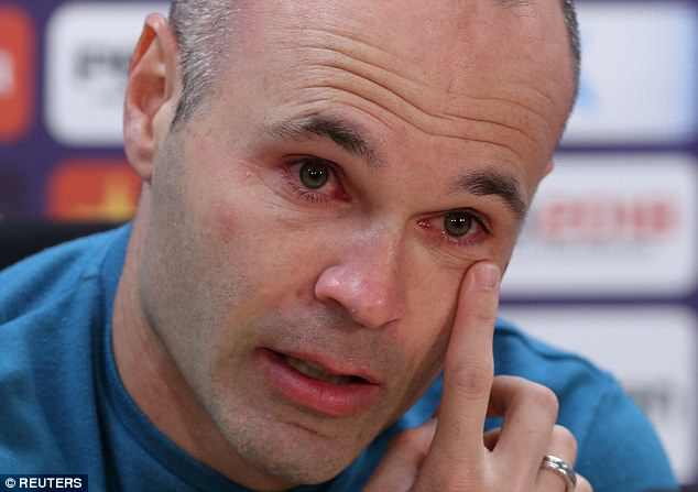 Iniesta couldn't hide his emotions as he spoke to the media during a press conference