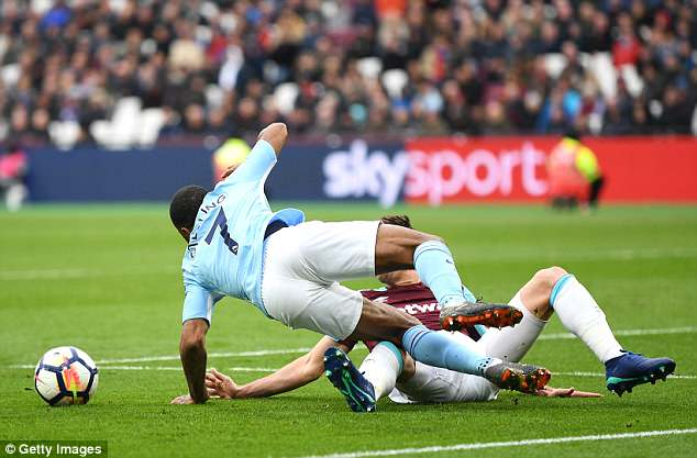 Sterling was also unlucky not to get a penalty when Aaron Cresswell slid in and missed the ball