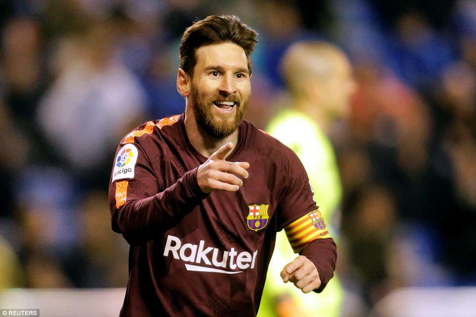 Lionel Messi hit a stunning hat-trick as Barcelona beat a stubborn Deportivo to seal the La Liga title with four games left