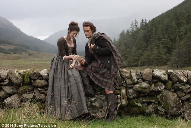 Hotly-anticipated: Viewers were left on the edge of their seats when Claire and Sam Heughan's character James landed on the shores of America after battling an epic shipwreck in the season three finale of Outlander