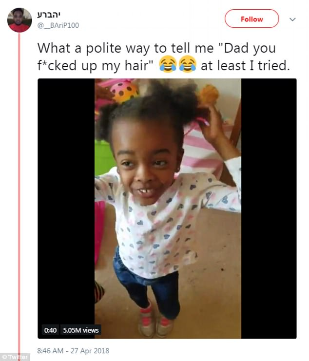 Too cute: Father-of-three Jabari Paulk, 27, got a sweet talking-to from his five-year-old daughter Taylor after he gave her a lopsided updo