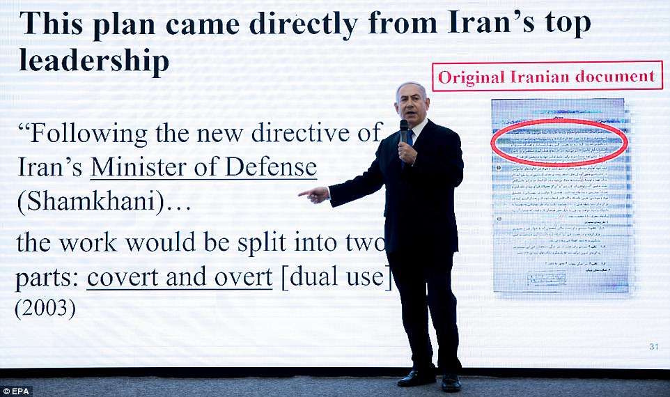 Netanyahu used a slide which he says confirmed that the covert program to develop nuclear weapons was authorized by Iran's defense minister in 2003