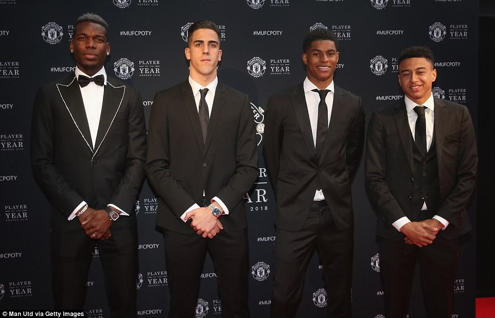 Paul Pogba, Joel Pereira, Marcus Rashford and Jesse Lingard (left to right) at Manchester United's end-of-season awards