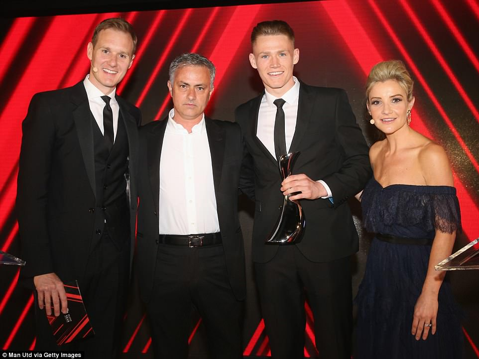 Mourinho posed with 21-year-old Scotland midfielder Scott McTominay after making him the Manager's Player of the Year