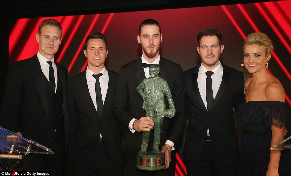 The 27-year-old Spanish stopper also won the main prize — the Sir Matt Busby Player of the Year award, as voted for by fans