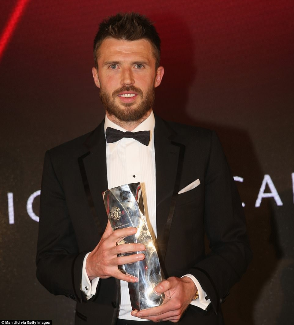 Carrick, who has played more than 300 Premier League games for United, was presented with a special recognition award