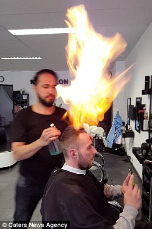 Turkish Barber Uses Fire To Cut His Clients Hair Daily