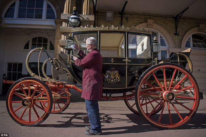 If it rains on the wedding day in Windsor, then the wet weather option is the Scottish State Coach (pictured), built in 1830