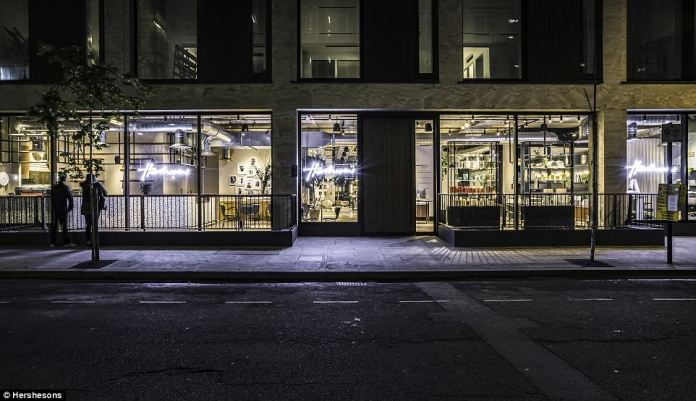 Hershesons as seen from the street. Luke commented:'This is not a traditional salon – it's a beauty space, a work space and a social space wrapped into one. Customers can pick and mix the services they want according to their needs'