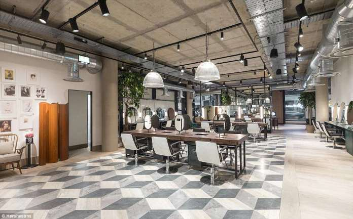 Beauty wonderland: Hershesons'jaw-dropping beauty emporium  features a 'hair shop', blow dry bar, manicure station, facial corner, café, work and 'chillout' space - and is expected to be a big hit with city slickers and day trippers alike