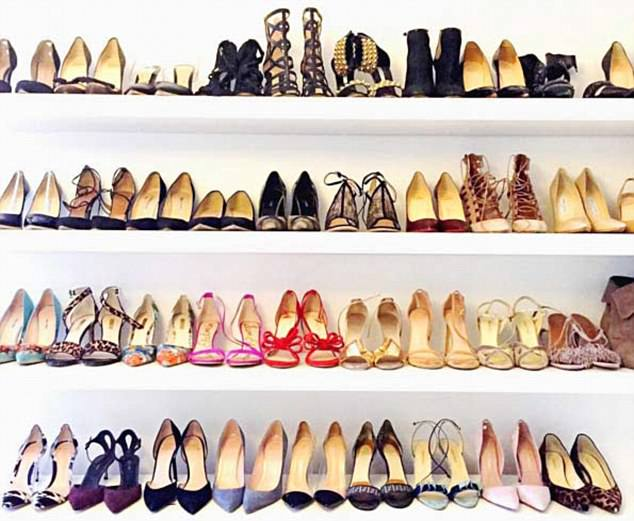 Meghan's shoe collection - worth more than £20,000, that she shared online in 2016