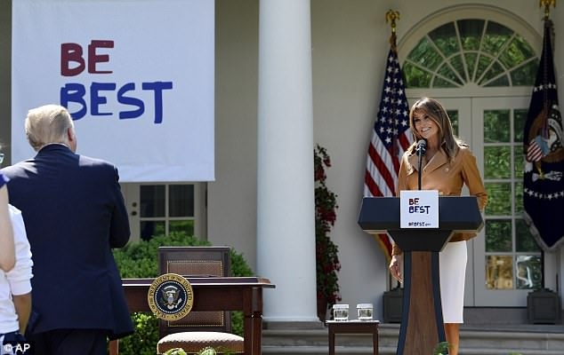 Melania's husband, President Donald Trump, was in the front row when she unveiled her 'Be Best' initiative, which aims to encourage adults to teach children how to be good citizens