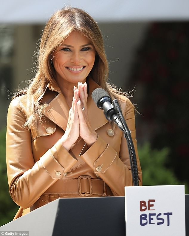 Melania had a bright smile on her face as she addressed the audience on Monday