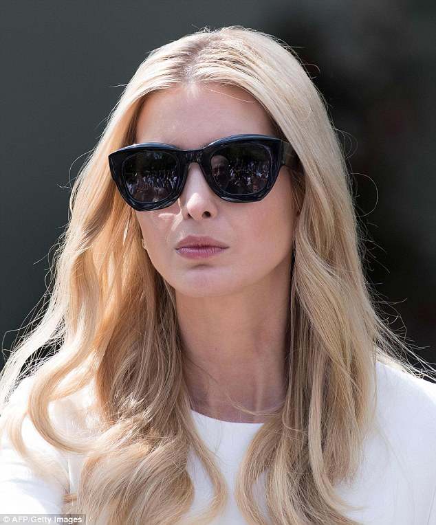 Ivanka wore her long blonde hair in loose waves that flowed past her shoulders