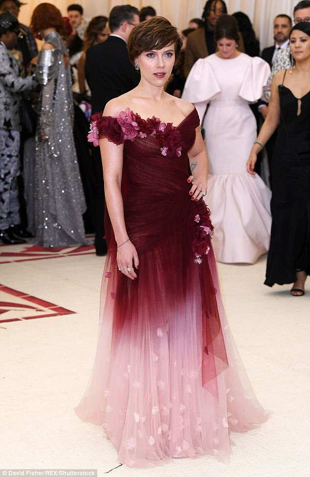 Making a statement: The Avengers star came under criticism online for her decision to wear a Marchesa design, with many suggesting this was a sign she was supporting Weinstein