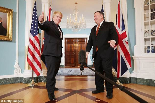 Boris Johnson, pictured with US Secretary of State Mike Pompeo, has pleaded with President Trump to stick with the deal