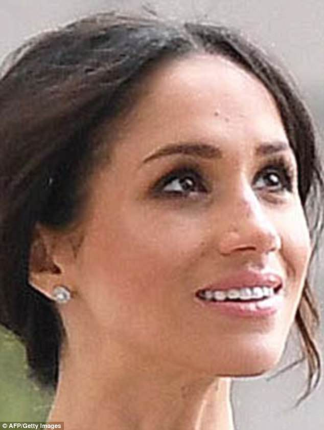 Meghan has worn these glittering diamond studs from Cartier on three recent royal occasions, leading many to speculate that they may be a pre-wedding gift from her doting fiance