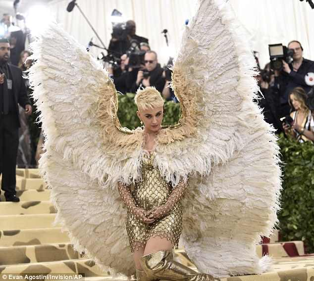 Katy Perry came as a giant feathered angel, which looked as ridiculous as it sounds
