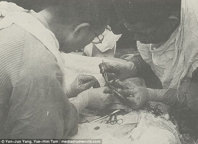 Horrendous: Japanese scientists carry out a vivisection - a dissection of a live human being without anesthetics - just one of dozens of human experiments carried out at Unit 371