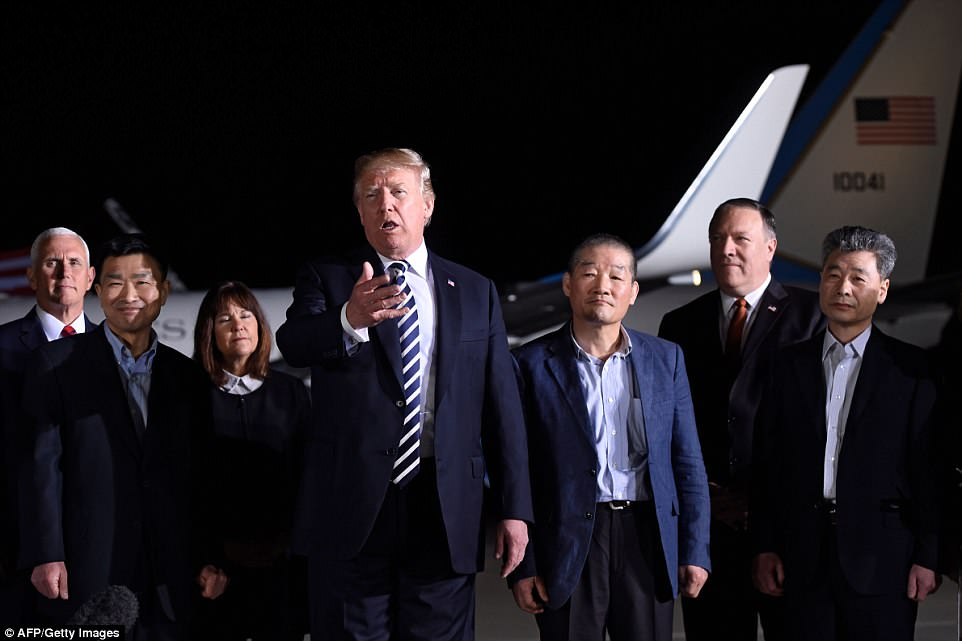 Trump also thanked the North Korean dictator for freeing 'the folks early,' calling it 'a wonderful thing' and adding that he believes Kim finally wants to bring his country 'into the real world'