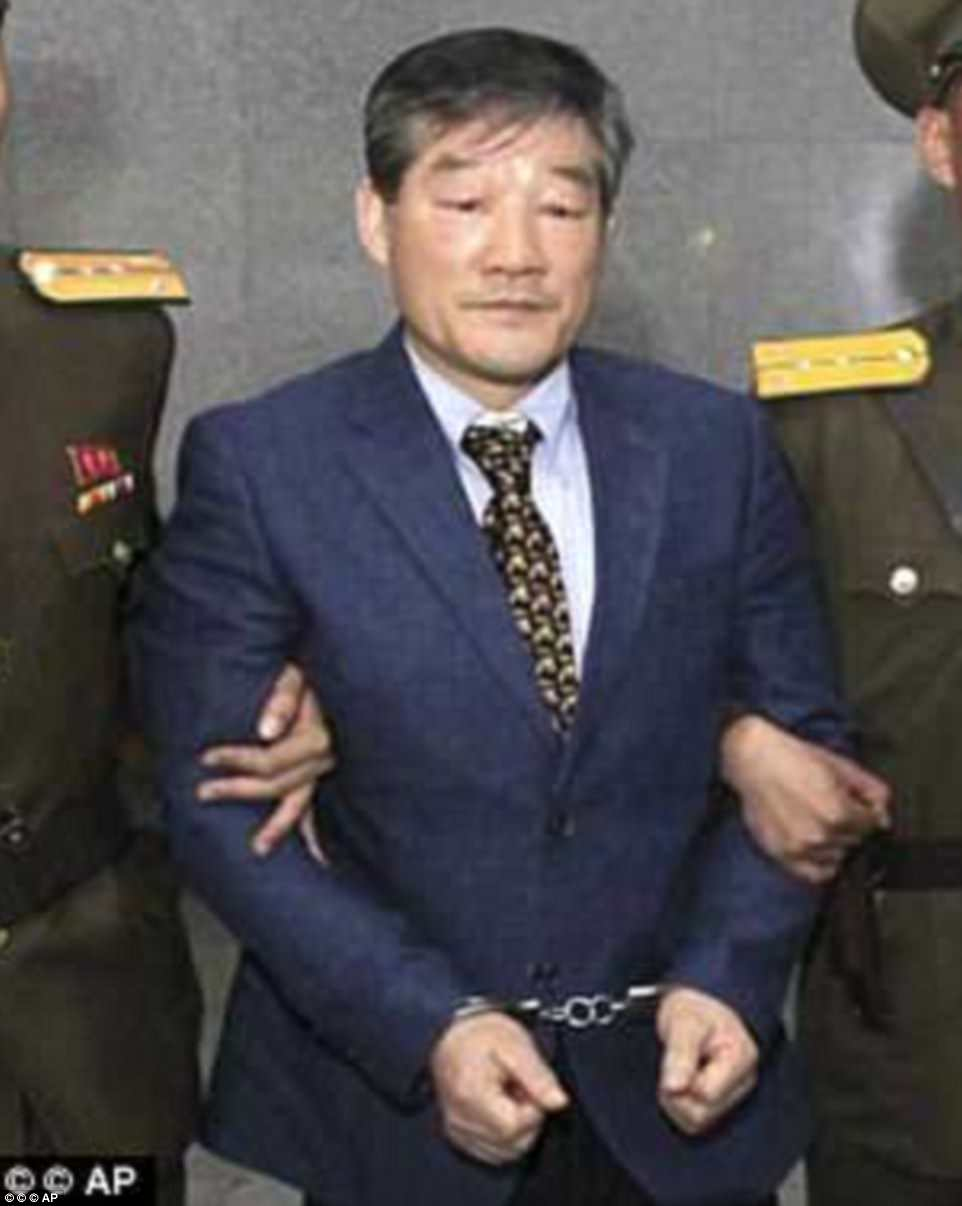 Kim Dong-chul, pictured above had been detained since 2015. He was arrested for spying and had been sentenced to 10 years' hard labor