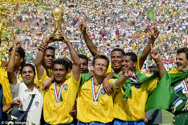 Romario pictured lifting the World Cup   in July 1994at the Rose Bowl in Pasadena, California