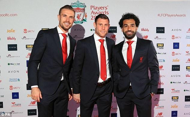 Captain Jordan Henderson, James Milner and Mohamed Salah arrive for the Liverpool awards