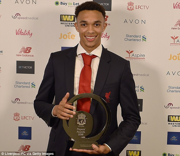 Trent Alexander-Arnold scooped the evening's first honour with Young Player of the Season