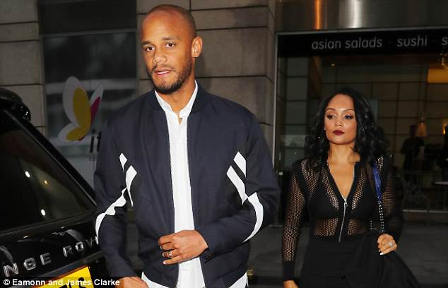 Vincent and Carla Kompany arrive at Tattu Restaurant in Manchester on Thursday night
