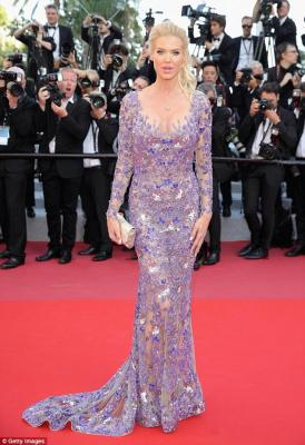 All eyes on her: Victoria Silvstedt, 43, dazzled in a lilac sequin gown as she led the star-studded arrivals at The Eternels premiere on Friday