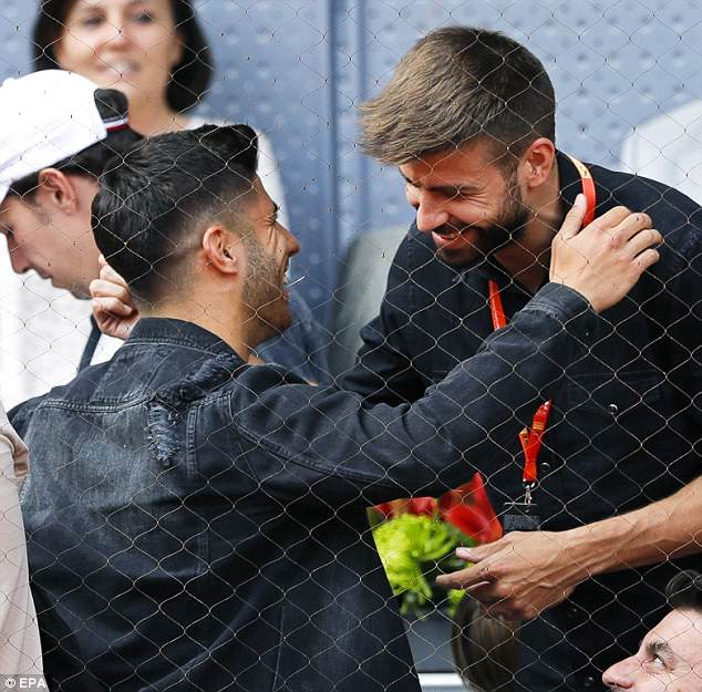 The defender warmly embraced Madrid's Marco Asensio at the Madrid Open on Friday