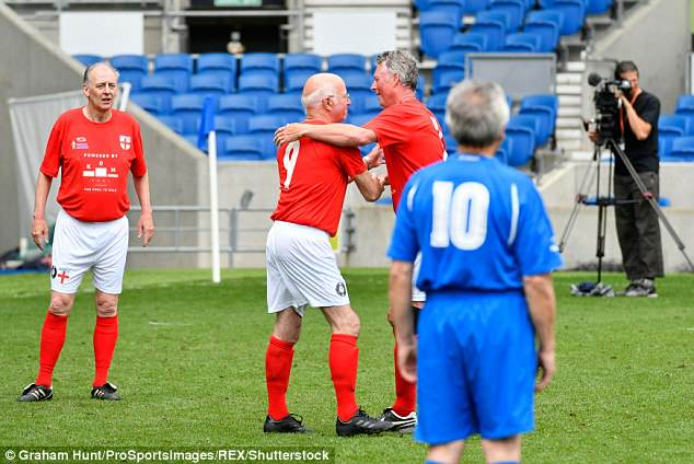 The England team ran out comfortable 3-0 winners during the world's first walking football internation match