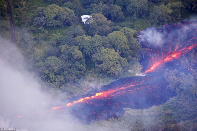 As seen from a helicopter, the crack appeared to be about 1,000 feet long and among the largest of those fracturing the side of Kilauea, a 4,000-foot-high volcano with a lake of lava at its summit