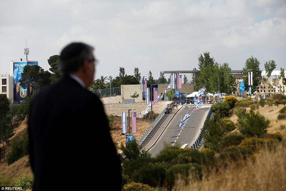 Security has been tightened around Jerusalem ahead of the embassy opening this afternoon. Pictured: A road leading to the embassy