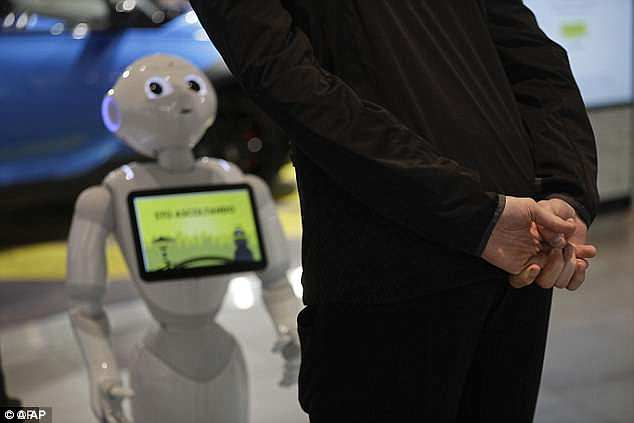 Named Robby Pepper, the robot (pictured) has been taught a list of questions such as the locations of the spa and restaurants and their opening hours