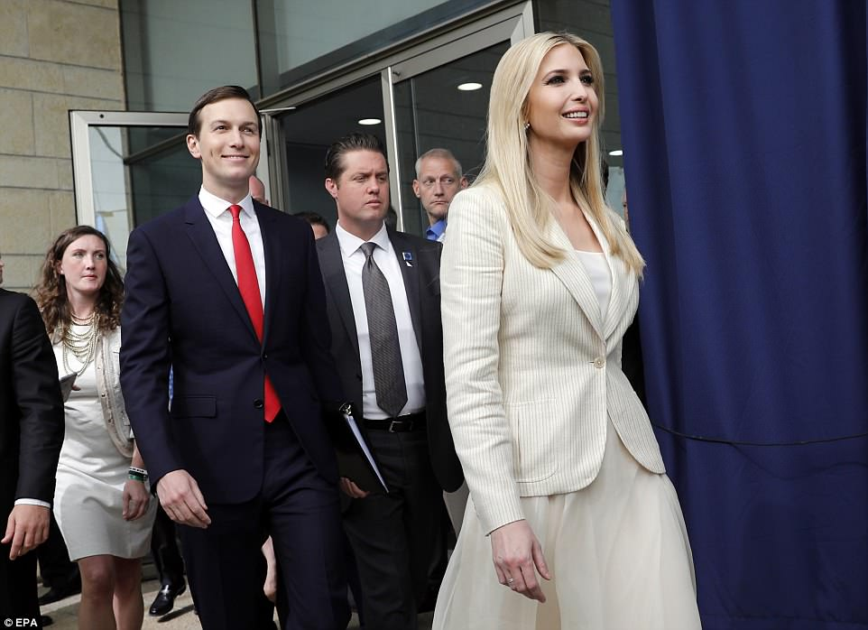 Donald Trump's daughter Ivanka (right) and husband Jared Kushner (left) joined Benjamin Netanyahu for the opening of the embassy this afternoon