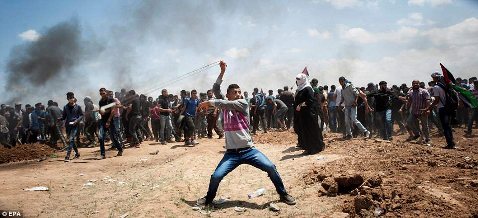 Violence: This was the scene as a man used a sling to hurl rocks towards Israeli forces along the Gaza border today