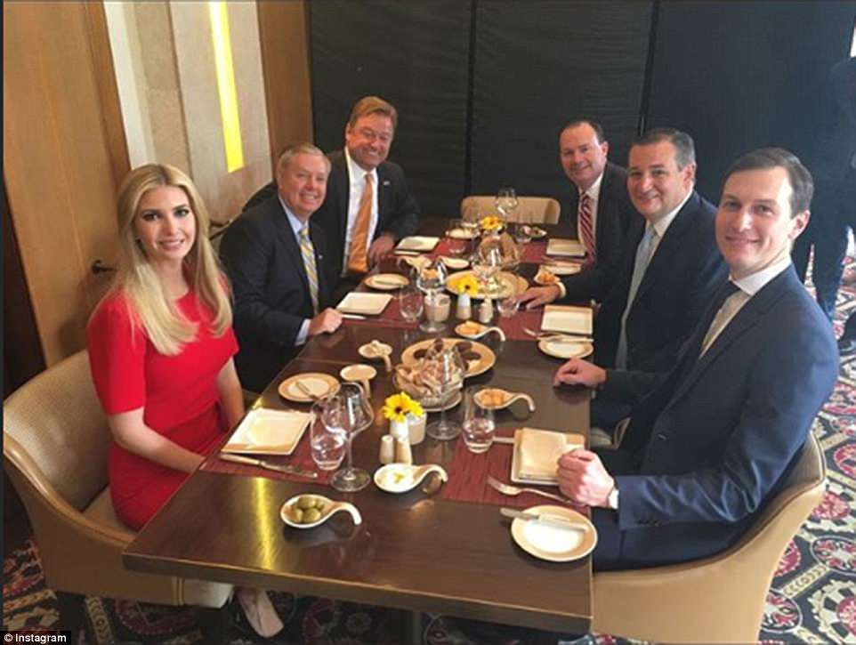 Ivanka shared two photos of herself and Jared sharing a meal with GOP Senators Ted Cruz, Mike Lee, Dean Heller, and Lindsey Graham