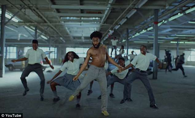 The video was shot to mimic the imagery of Gambino's music video, pictured above